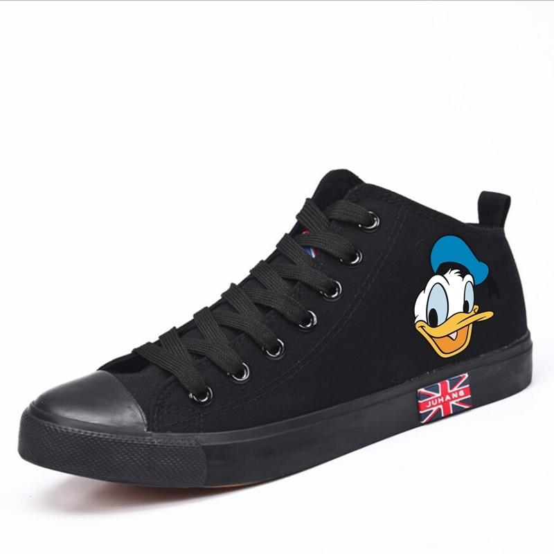 Divertido Pato Donald Mickey Minnie dibujos animados patrón de dibujos animados de tacón alto de lona Uppers zapatillas de la Universidad Personaliza la moda Casual