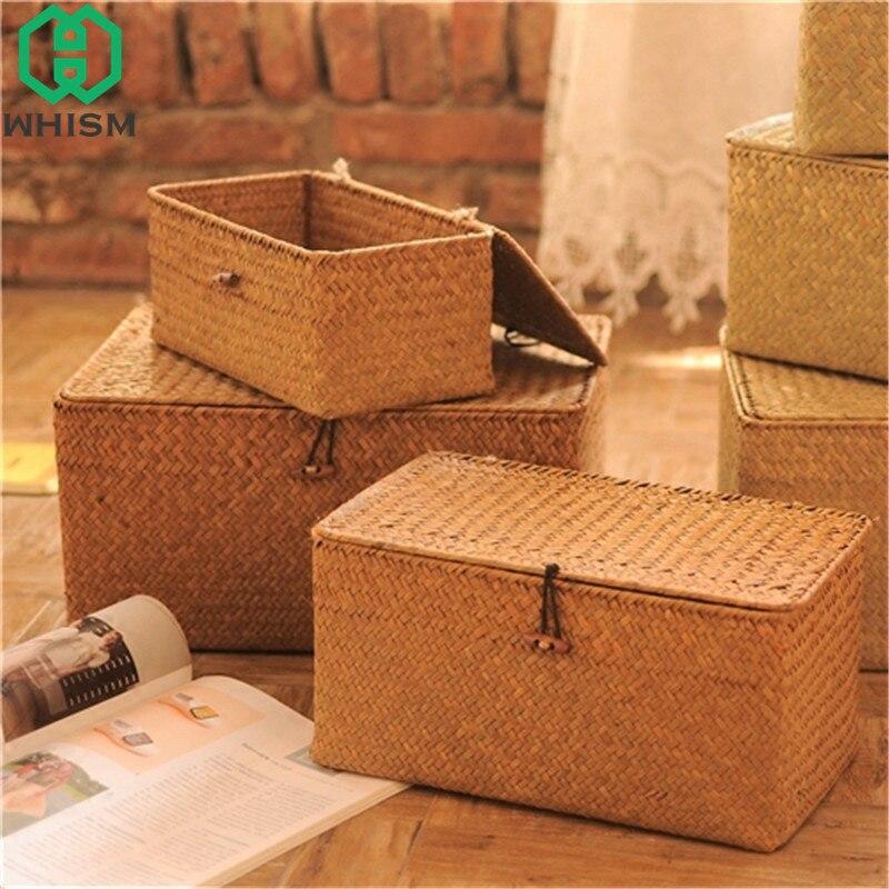 Caixa de classificação de seagrass caixa de armazenamento de vime de brinquedo caixas de armazenamento de vime organizador de maquiagem com tampa