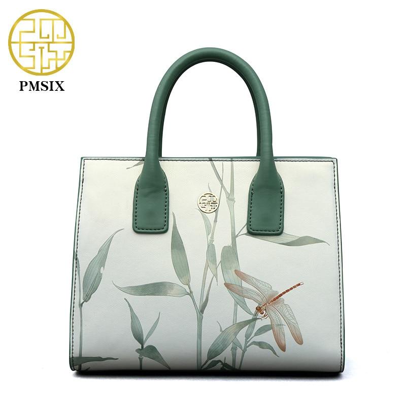 Модная женская сумочка PMSIX из воловьей кожи, элегантные светло-зеленые вместительные повседневные квадратные пакеты на плечо с принтом, 2020