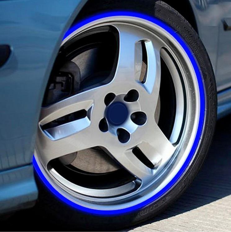 De la motocicleta del coche de la llanta con reborde pegatinas reflectantes para BMW E46 E60 Ford focus 2 Kuga Mazda 3 cx-5 VW Polo Golf 4 5 6 Jetta Passat