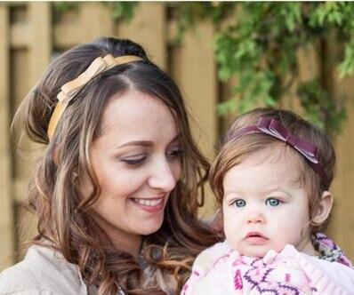 2016 New Women Mommy Elastic Headband Double Bownot Leather Hair Band Headband Turban Headband bandeau bebe