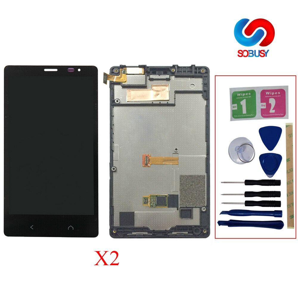 Pantalla LCD Original para Nokia X2 Dual Sim X2DS RM-1013 matriz de pantalla LCD + Digitalizador de pantalla táctil montaje completo + marco + herramienta de reparación