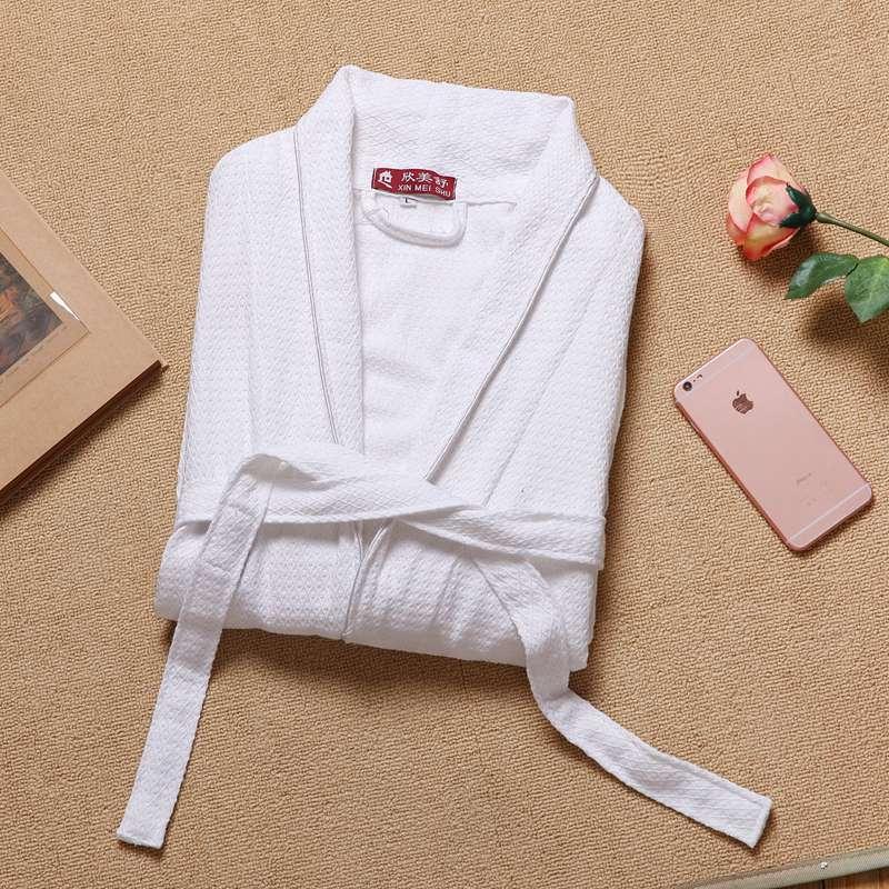 Bathrobe Men 100% Cotton Pajamas Bathrobe men spa robe male plus size XXL Pajamas Kimono Robe Sleepwear Nightgown White недорого