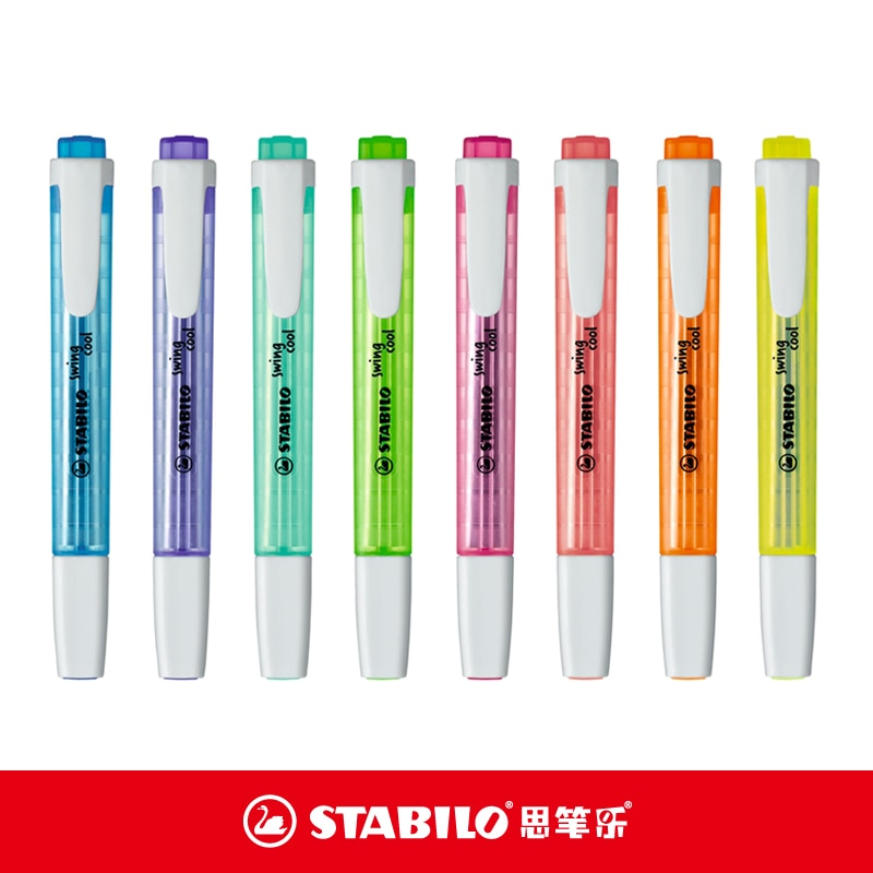 Stabilo 275 caneta fluorescente balanço legal portátil marcador caneta highlighter 3mm alemanha azul/amarelo/rosa/roxo/laranja/cor verde