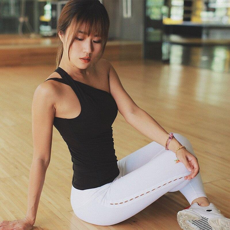 Mermaid Curve With chest pad Sleeveless Single shoulder strap Women Tank Tops Sports Fitness Running Slim  Yoga Shirt Vest