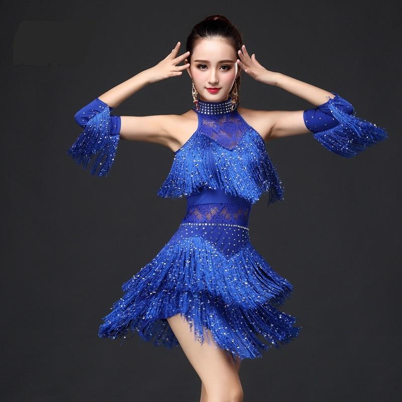 Новый 2017 латинское платье для танцев Для женщин/девочек разного возраста, новая пикантная бахрома для сальсы/бальные/Танго/ча-ча/румбы/самб...