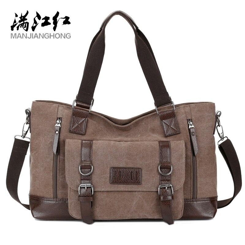 MANJIANGHONG Men's Canvas Bag Cross-Section Business Square Bag Large-Capacity Casual Shoulder Messenger Bag
