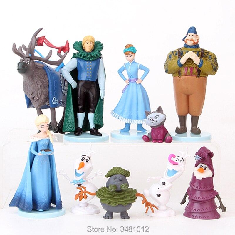 Snow Queen Elsa Anna Princess Miniature PVC Action Figures Olaf Kristoff Sven Anime Dolls Figurines Kids Toys for Children Girls