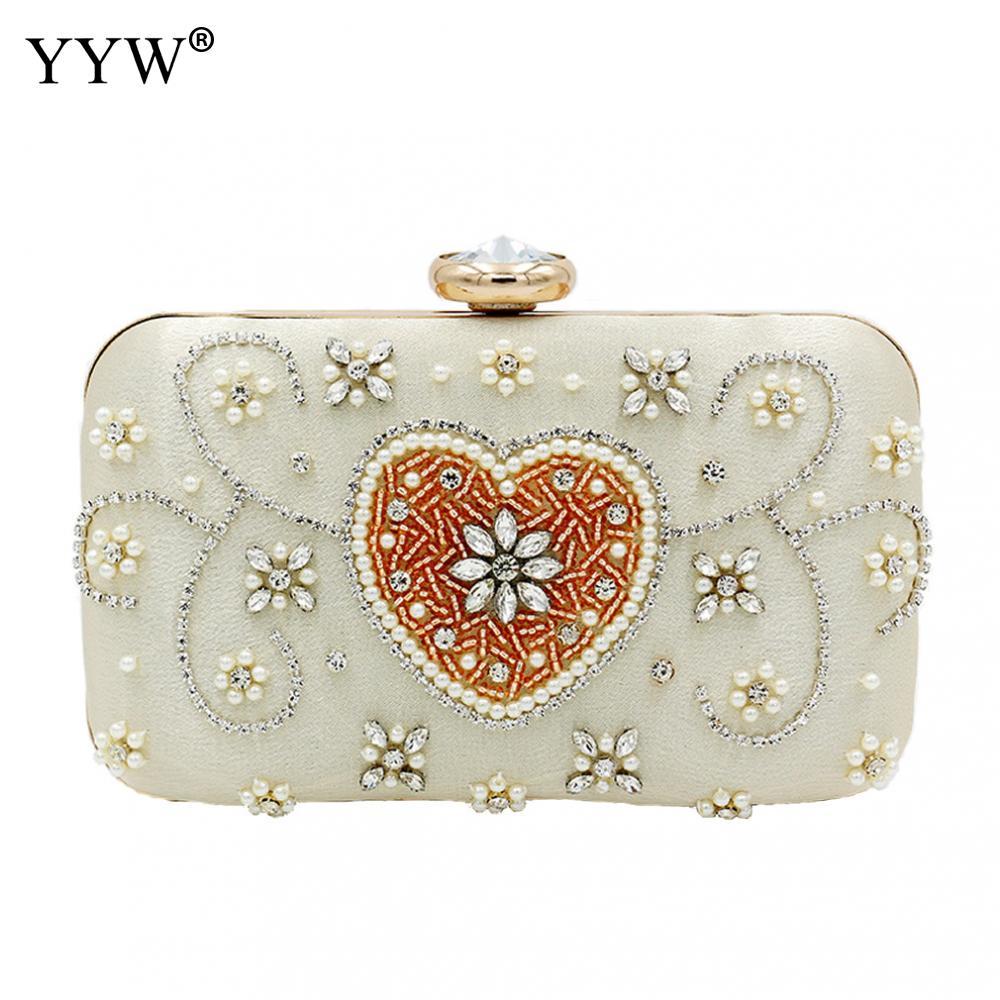Blanco Boutique elegante bohemio mujeres boda embrague monederos con cuentas bolso de...