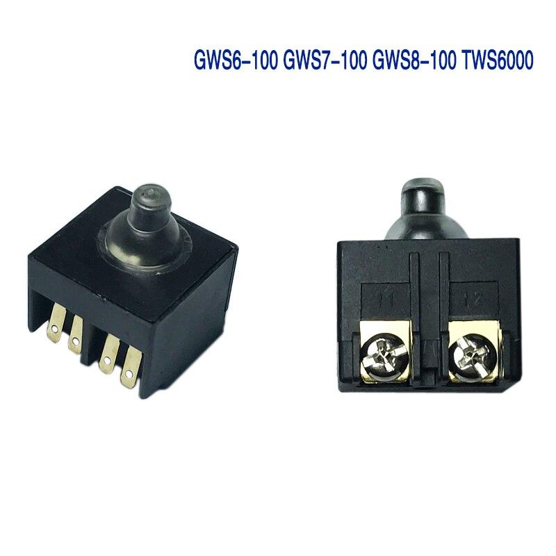 1 Uds amoladora de ángulo AC 250V 6A 125 V/10A DPST interruptor de botón pulsador Bosch GWS6-100 GWS7-100 GWS8-100 TWS6000