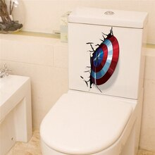 Autocollant Vibranium De Captain America bricolage   Étiquette De toilette, décoration De maison, Art Mural De film Avenger, en 3d
