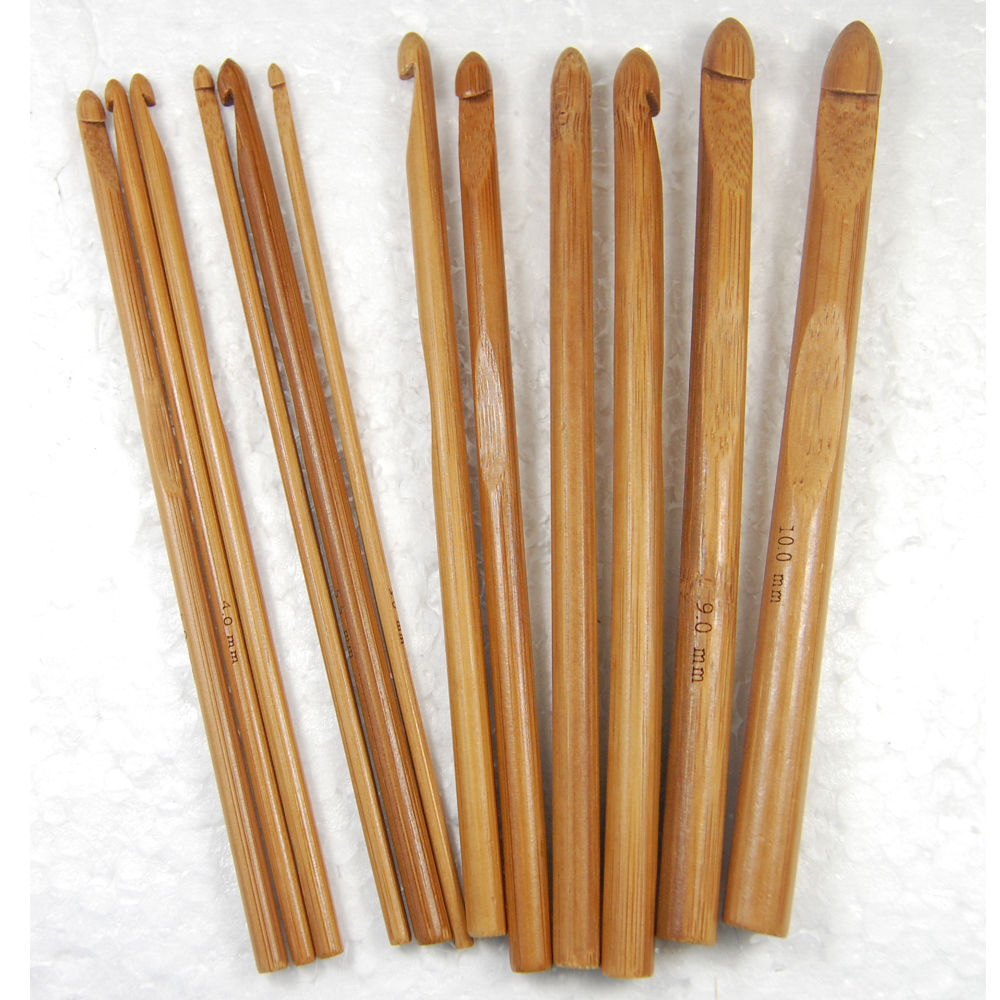 2016 telar de tejer nuevo pelo sintético llegada agujas de bambú de ganchillo 12 unids/set 12 tamaño 3mm-10mm suave carbonizado en promoción