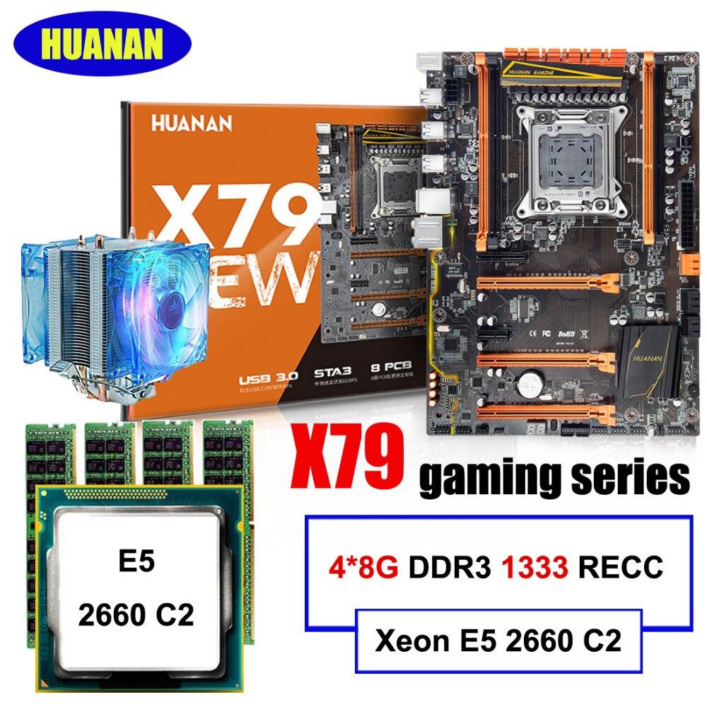 HUANAN ZHI deluxe скидка X79 материнская плата LGA2011 материнская плата с M.2 NVMe CPU Xeon E5 2660 C2 с охладителем RAM 32G (4*8G) RECC