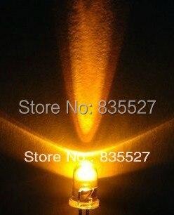 200PCS/LOT 5MM transparent yellow super bright LED light-emitting diode Round head