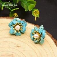 glseevo natural citrine pearl stud earrings for women birthday day gift 925 sterling silver flower earrings fine jewelry ge0780b