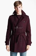 Wykonane na zamówienie bordowy trencz mężczyzn, podwójne piersi płaszcz zimowy męski długi płaszcz, płaszcz z wełny kaszmirowej płaszcze zimowe dla mężczyzn
