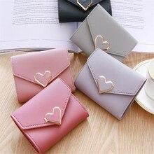 Nouveau mignon coeur forme cuir mince Mini portefeuille femmes petite pochette femme sac à main porte-carte Dollar sac