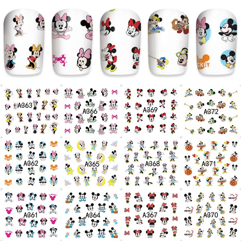 12 hojas agua pegatinas manicura decoraciones uñas pegatina tatuaje cubierta completa belleza dibujos animados ratón pegatinas manicura suministros 2020 nuevo