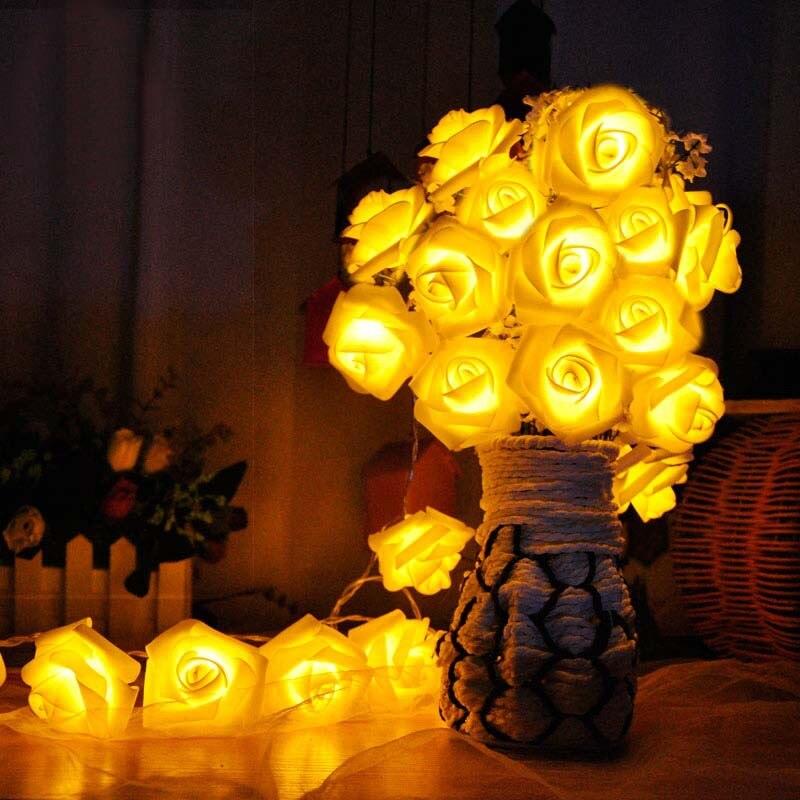 Luces de hadas con pilas 3m, Led Rosa intermitente, Navidad Natal, luces decorativas para exterior, regalo de Sala de bodas para boda