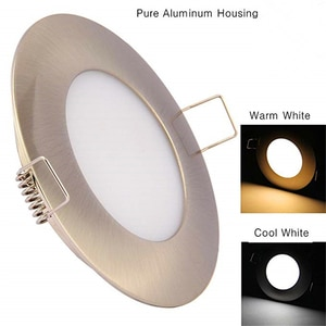 Topoch Ceiling LED Lights 4-Pack DC12V 3W Brushed Nickel Recessed Interior Dome Light Cabinet Roof Cabin Overhead Downlight Lamp