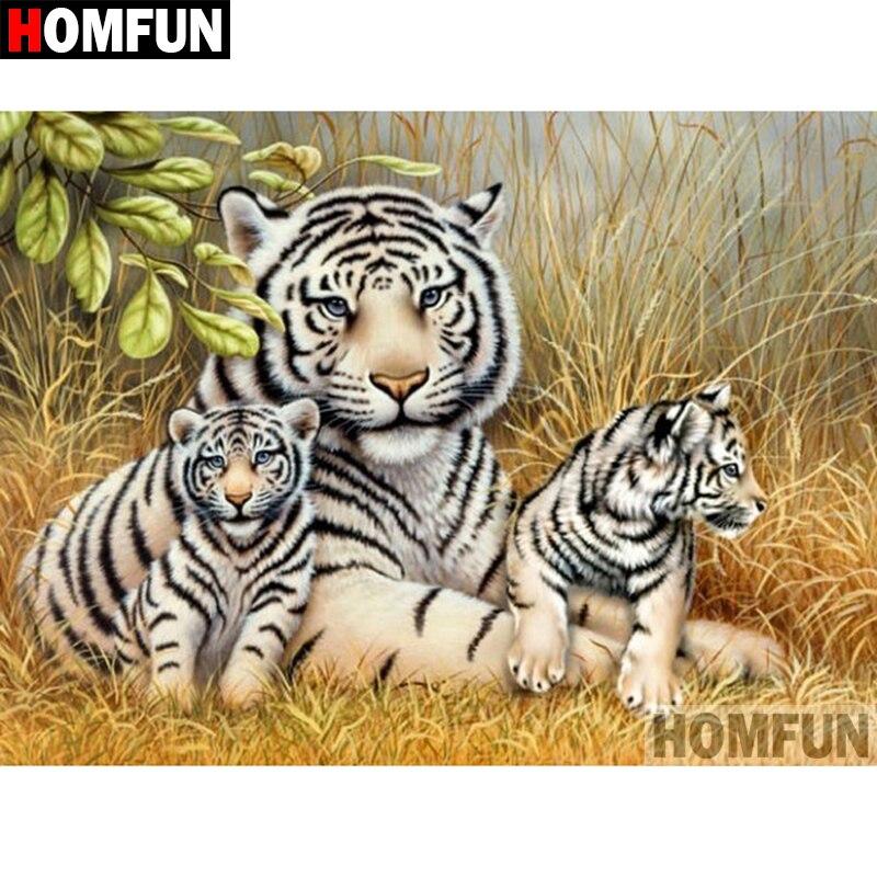 "HOMFUN 5D DIY diamante pintura cuadrado completo/taladro redondo ""Animal tiger"" 3D bordado punto de cruz regalo hogar decoración A01006"