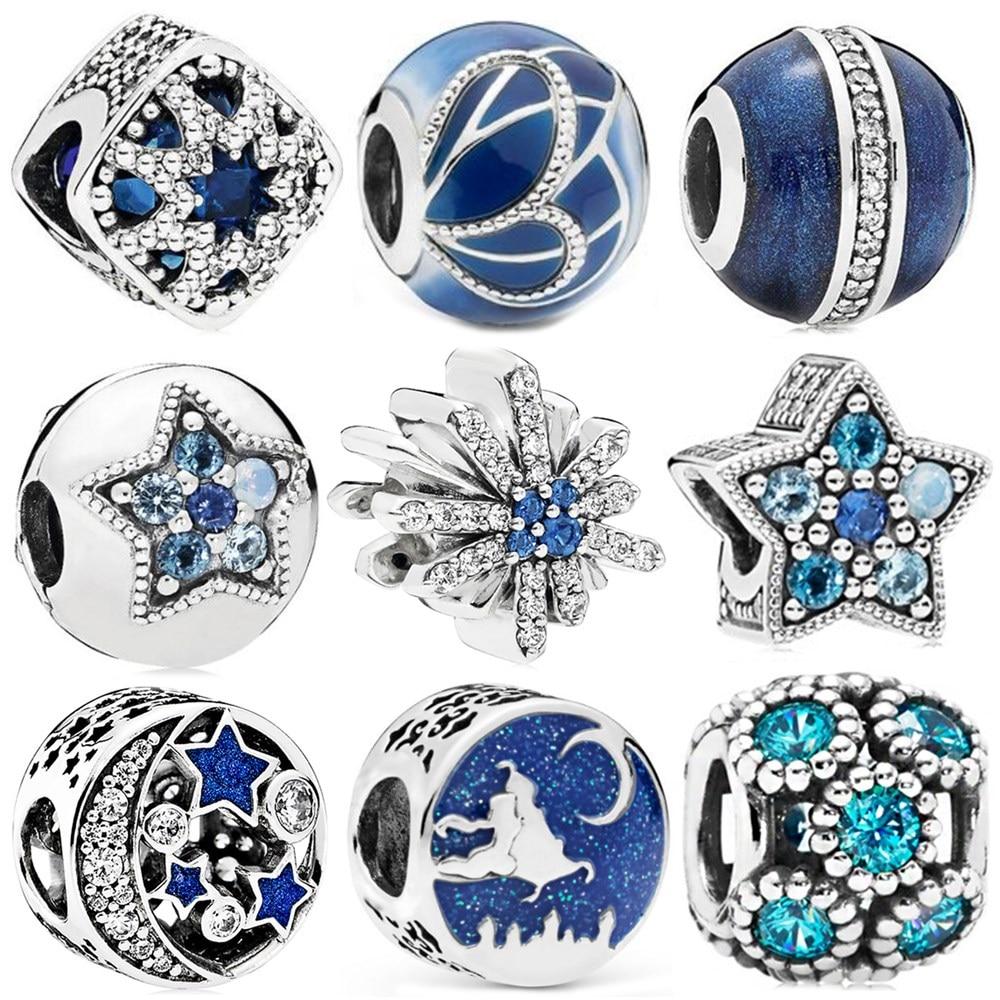 Cor de prata estilo azul estrela natal borboleta lua floco de neve grânulo caber pandora original grânulo pulseira feminino charme jóias diy