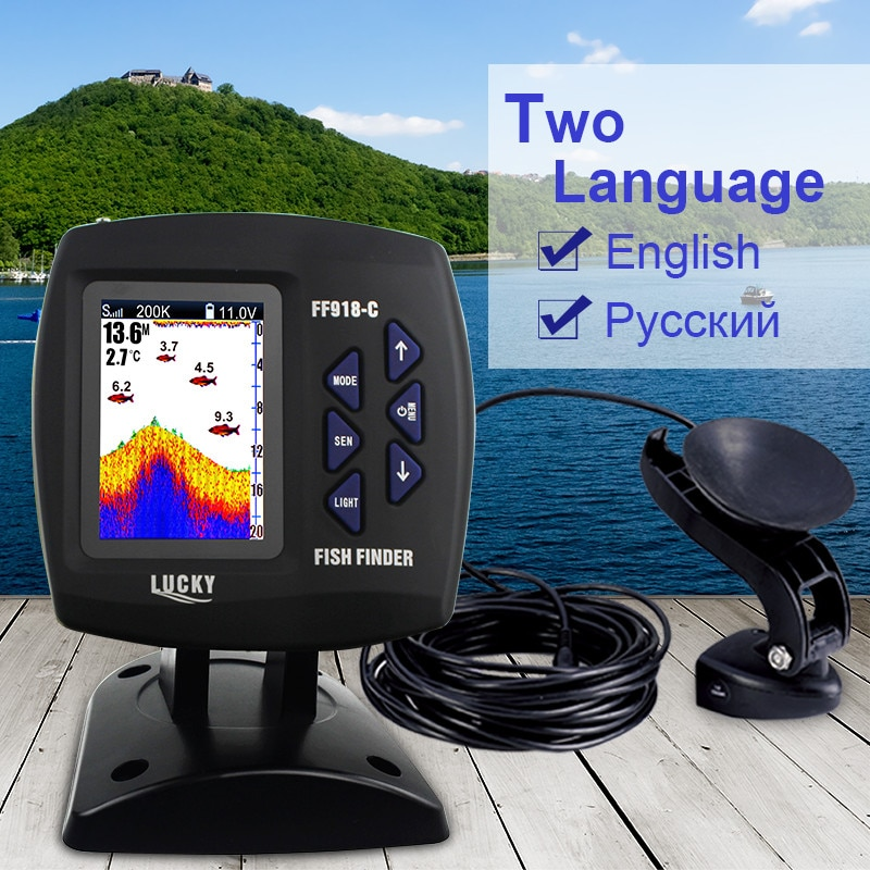 LUCKY FF918-C100D Dual Frequency 328ft/100m water Color Boat depth Fish Finder with free gift fishing lure enlarge