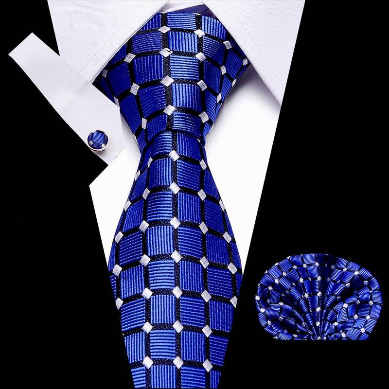 Party Wedding Classic Pocket Square Tie  Navy Blue Gold Paisley 3 Silk Woven Men Necktie Handkerchief Set