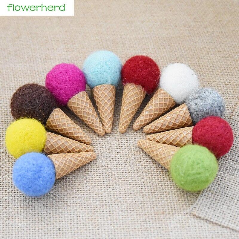 3 pçs feltro de lã decoração de natal cor sorvete presente diy árvore de natal huan ran ran ornamento decoração de festa de ano novo
