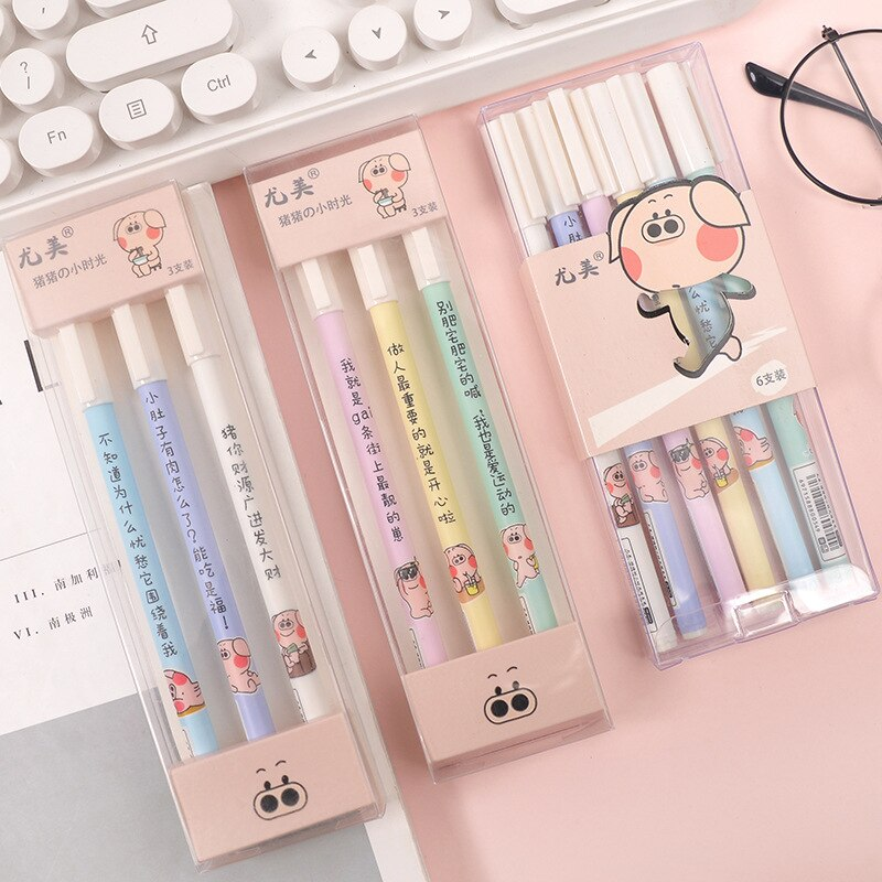 Sprouting pig pinkycolor 0.5mm Kids Korea Gel Pens Kawaii School Supplies Stationary