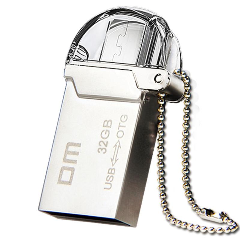 DM PD008 OTG USB 100% 32G 16G 64G USB Flash Drives Smartphone Pen Drive Micro USB Portable Storage Memory Metal USB Stick Free
