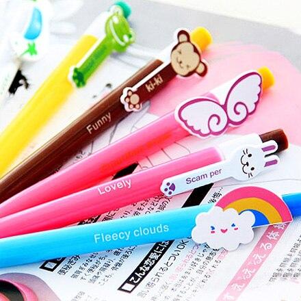 Papelería mono de dibujos animados bolígrafo conejo animal alas de arco iris de pluma 0,5mm