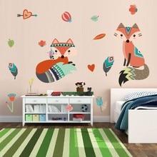 Lovely Fox pegatinas de pared animales de dibujos animados de amor arte calcomanías, bricolaje, pósteres de PVC Mural para niños habitación decoración para el hogar moderno