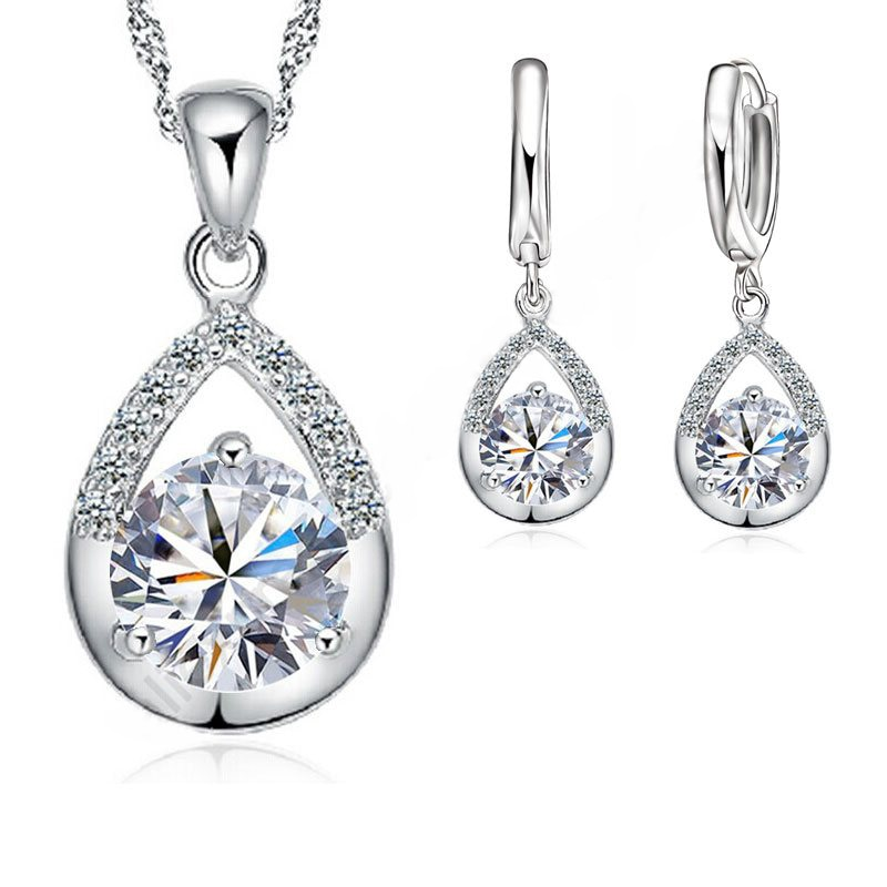 Комплект ювелирных изделий из чистого серебра 925 пробы с каплями воды, комплект из сережек и ожерелья высшего качества для женщин и девочек, ...