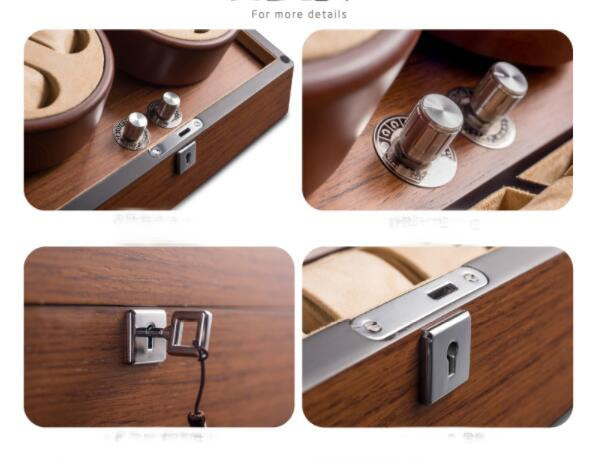 Automatic watch Winder 4 watches display box organizer cabinet vitrinekast dust/mangetic proof wooden+velvet lock Gift package enlarge