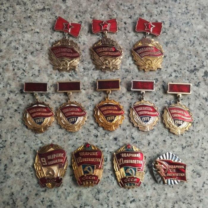 12 conjunto completo CCCP Soviética Socialista mano de obra Bandera Roja Medalla de Estrella de cinco puntas URSS Metal broche Pin colección
