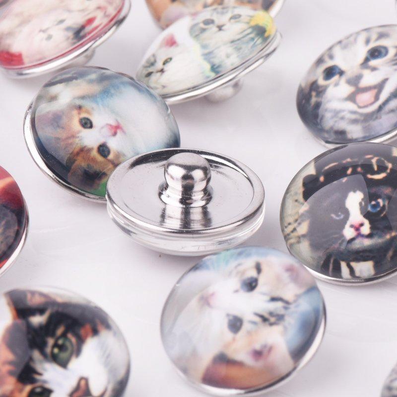18mm 12 Pcs Snap Auf Charms für Armband Halskette Heißer Verkauf DIY Schmuck Ergebnisse Faceted Glas Snap Button Schöne katze Design