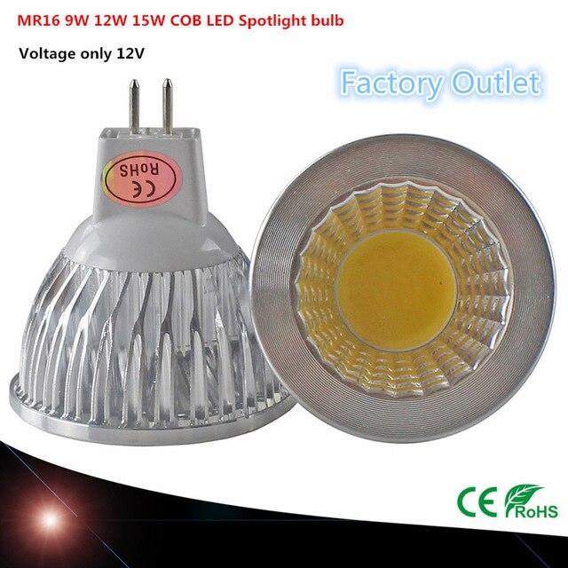 1 Uds superoferta MR16 COB 9W 12W 15W bombilla led para lámpara MR16 12 V, blanco cálido/blanco puro/frío iluminación led