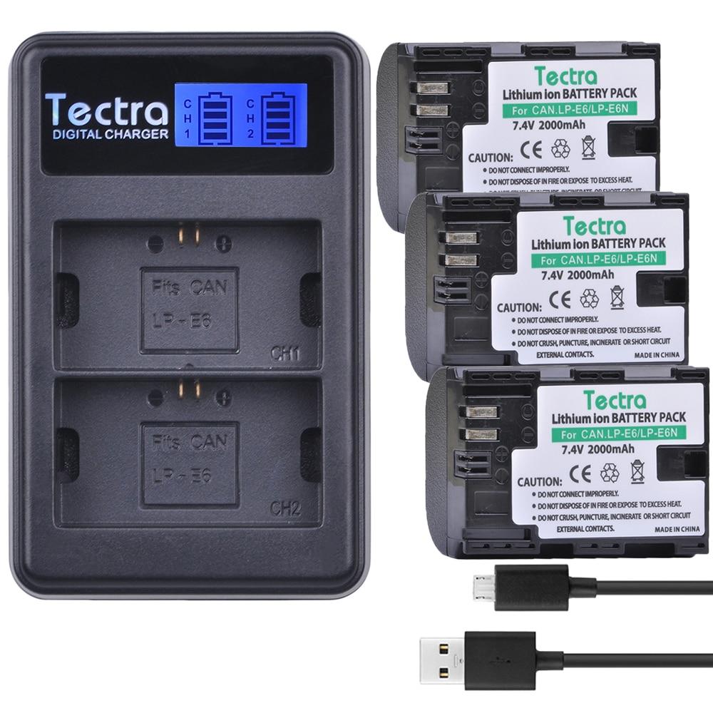 Tectra 3 uds LP-E6 LP-E6N de reemplazo de batería + LCD Dual...