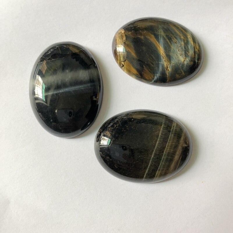 Cabujón de ojo de tigre azul Natural de Calidad AA ovalado 30x40mm CAB piedra semipreciosa joyería cabujón anillo cara 1 unids/lote