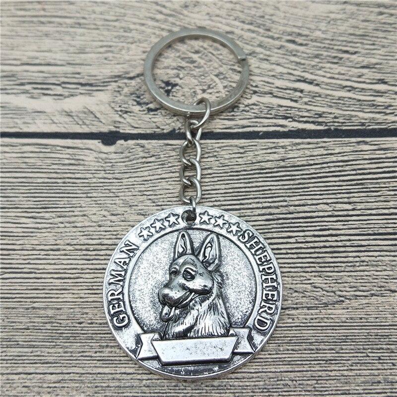 Elfin Vintage German Shepherd Keychains Antique Silver Plated German Shepherd Key Chains Keyrings Pet Dog Jewellery