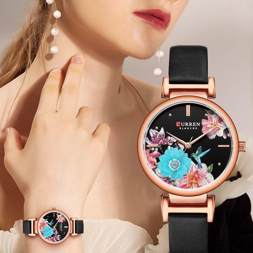 CURREN Womens Watches Flower Bird Black Reloj Mujer Slim Dial Lady Dress Quartz Leather Belt Bracelet Wrist Watch Zegarek Damski enlarge