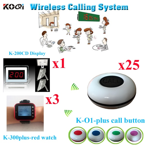 Wireless Calling System For Restaurant Pager Improved Service Level( 1 display with 3 watch and 25 buzzer)