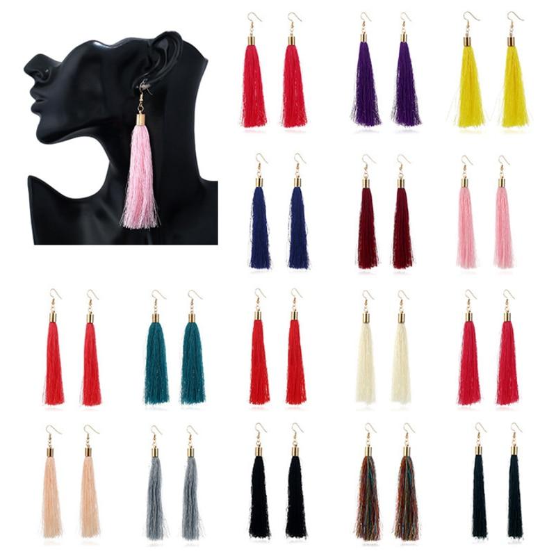 Vintage Ethnic Long Tassel Drop Earrings for Women Lady Fashion Bohemian White Red Silk Fabric Dangle Earring Indian Jewelry