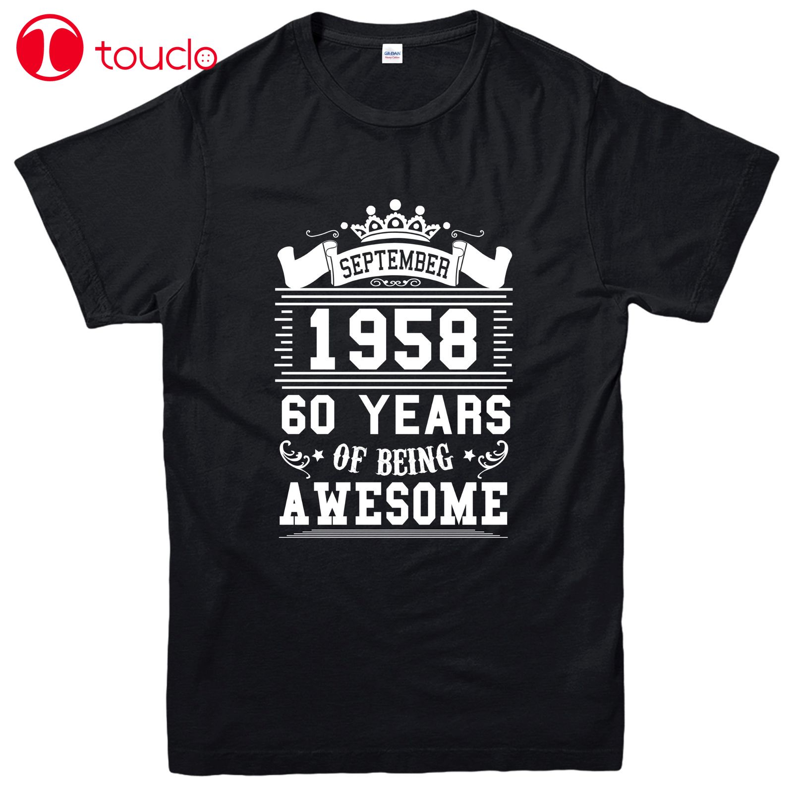 100% Cotton  Sixty Years Of Being Awesome T-Shirt, September 1958 Inspired Tee Top Tee Shirt Sweater