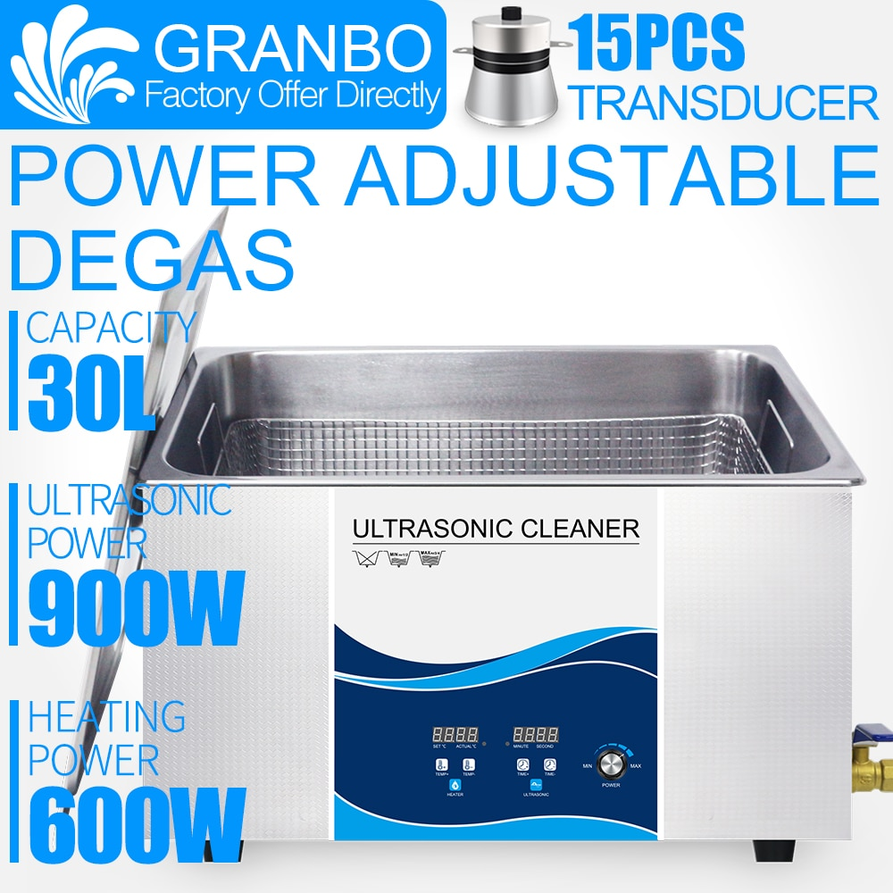 30L Ultrasonic Cleaner Industrial 0-900W Power Adjustable Degas  For Circuit  Board PCB Auto Parts Hardware parts Remove carbon industrial 88l ultrasonic cleaner generator engine oil auto car parts motherboard hardware washer heated bath equipment