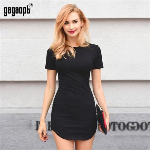 Simple Casual mujer camiseta Vestido de manga corta ceñido al cuerpo Casual Mini vestido de fiesta de noche camisa vestido Delgado Mini vestido