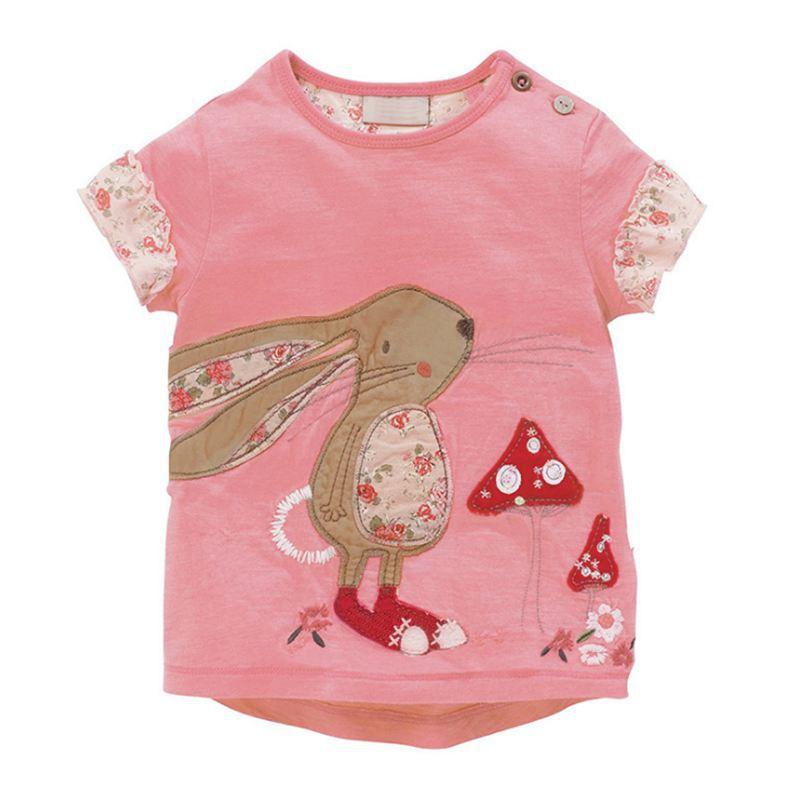 1 2 3 4 5 6 años Camisetas para niñas pequeñas camisetas de manga corta de algodón camiseta de bebé niña verano 2019 camiseta Rosa linda de dibujos animados de conejo para niños