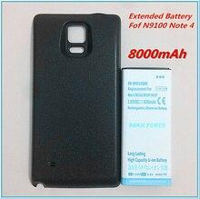 8000mAh batterie prolongée plus épaisse EB-BN910BBE Note4 batterie étendue pour Samsung Galaxy Note 4 N9100 N910F N910H N910 + boîtier noir