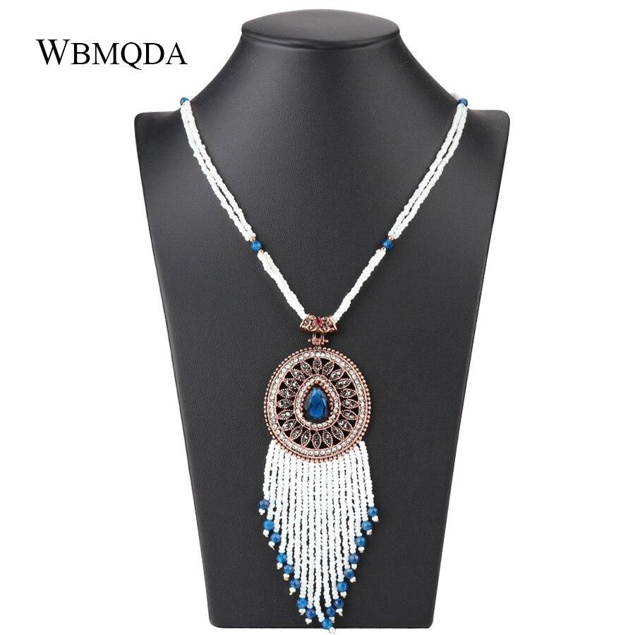 Wbmqda, collar con colgante de borla Bohemia para mujeres, collar largo de cristal de oro antiguo con cuentas a mano, joyería de boda Vintage, 2018 nuevo